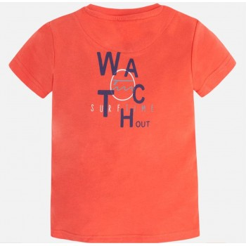MAYORAL Short sleeved applique orange watch t-shirt for a girl 3055-86