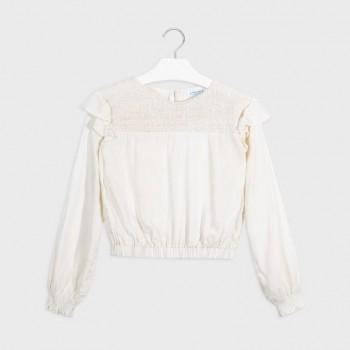 Mayoral Lurex patterned shirt Natural 7140-47
