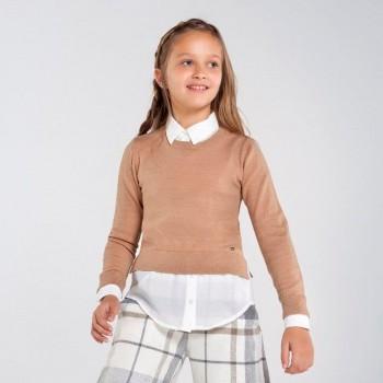 Mayoral chiffon blouse-sweater Oat 7329-54