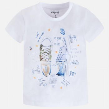 MAYORAL Short sleeved applique white sneakers t-shirt for a girl 3055-85
