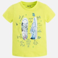MAYORAL Short sleeved applique green sneakers t-shirt for a girl 3055-87