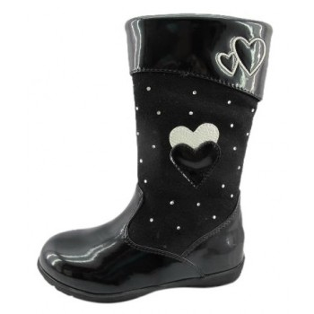 Nimma black boots with hearts