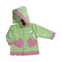 PLAYSHOES rain coat green/gingerbread heart 408593-029