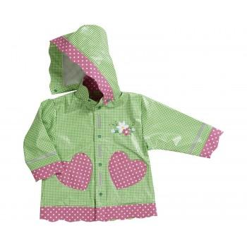 PLAYSHOES rain coat green/gingerbread heart 408593-029