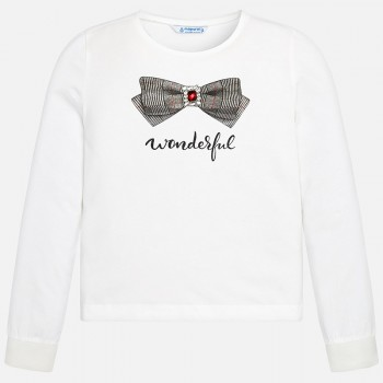MAYORAL Long sleeved applique t-shirt for girl 7044-88