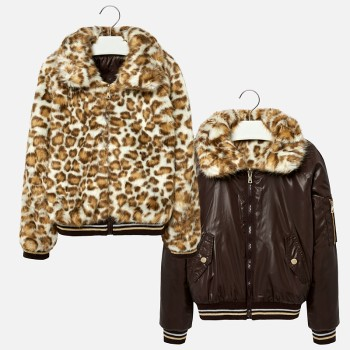 MAYORAL Reversible coat with faux fur collar for girl 7481-47