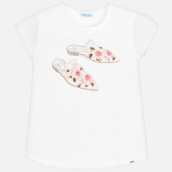 MAYORAL Short sleeved applique t-shirt for a girl 6002-42