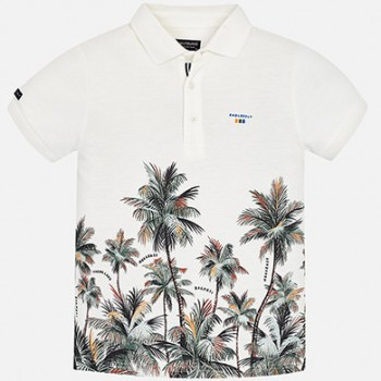 MAYORAL short sleeved white polo shirt with palmtrees for boy 6116-44