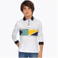MAYORAL Striped long sleeved polo shirt for boy 6123-48