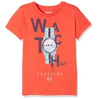MAYORAL Short sleeved applique orange watch t-shirt for a girl 3055-86